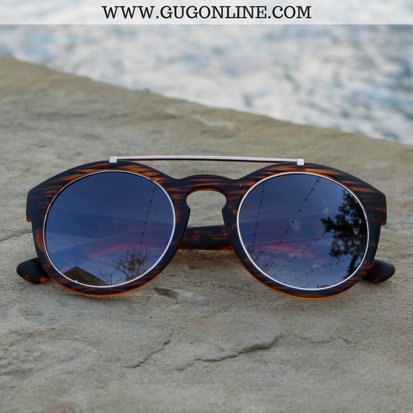 The Quinn Round Aviator Sunglasses in Tortoise with Gold Trim