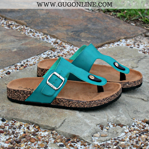 Summer Castaway Thong Sandal in Turquoise