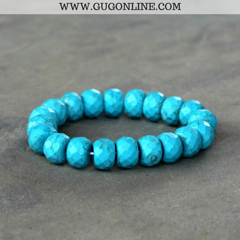 Turquoise Faceted Roundel Stretch Bracelet