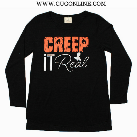 Creep It Real Long Sleeve Tee Shirt in Black