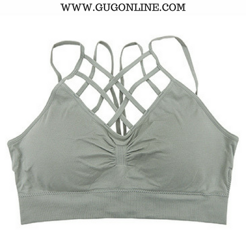 Give A Little More Padded Caged Bralette in Grey