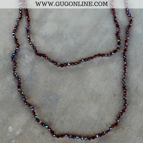 60 Inch Long Layering Crystal Strand Necklace in Dark Red AB