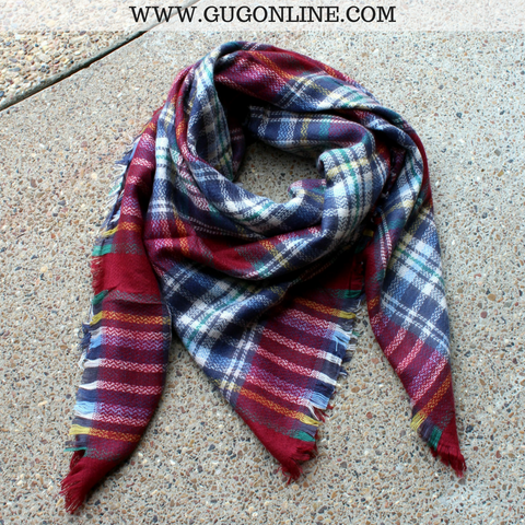 Maroon, Navy and Ivory Plaid Blanket Scarf