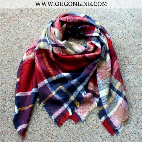 Maroon, Navy and Tan Plaid Blanket Scarf