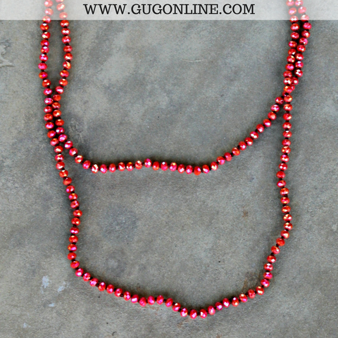 60 Inch Long Layering Crystal Strand Necklace in Red Orange AB