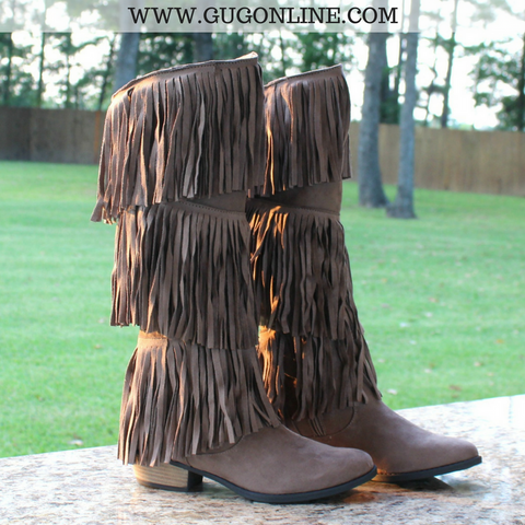 Bound to Wow Layered Fringe Riding Boots in Taupe