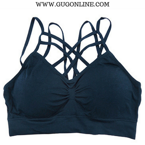 Give A Little More Padded Caged Bralette in Navy Blue