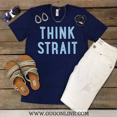 Think Strait Blue Short Sleeve Tee Shirt