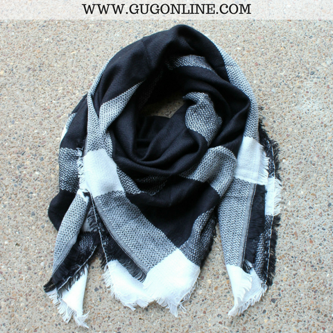 Black and Ivory Buffalo Plaid Blanket Scarf