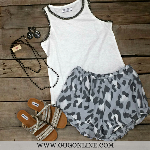 The Wild Way Print Ruffle Shorts in Grey Leopard