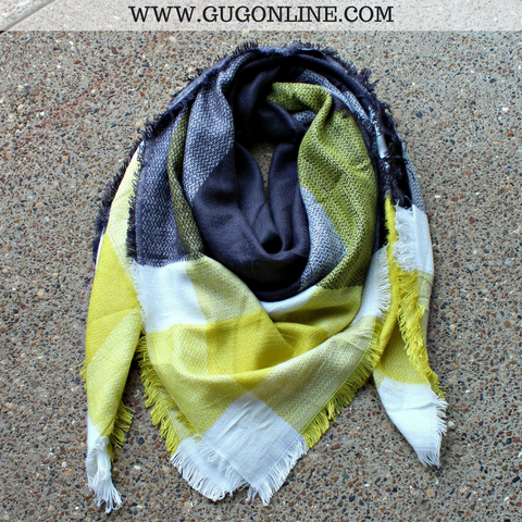 Charcoal, Lime and Ivory Buffalo Plaid Blanket Scarf