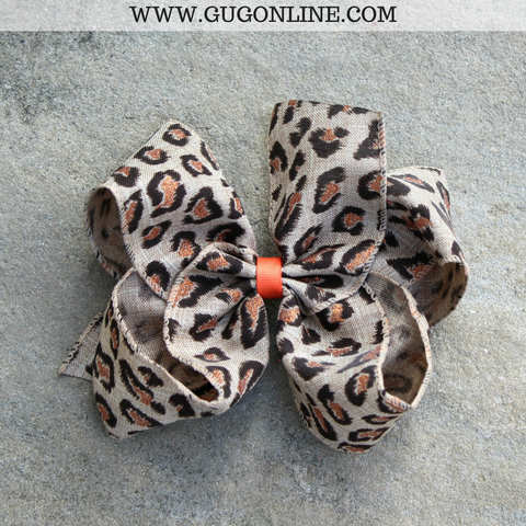 Brown Leopard Print Burlap Hair Bow