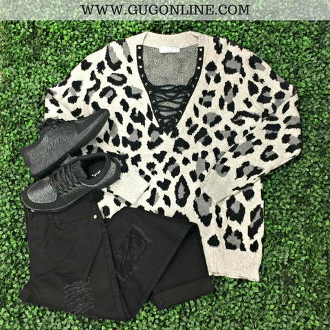 Close to Perfect Cheetah Print Lace Up Sweater in Black