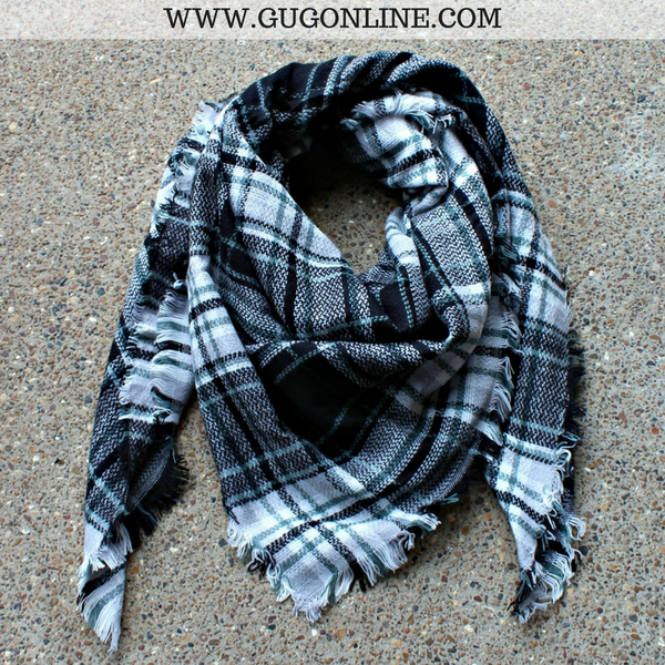 Black, White and Mint Green Plaid Blanket Scarf