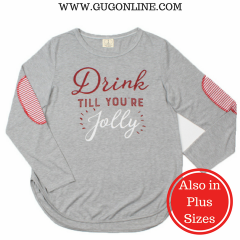 Drink Till You're Jolly Top with Striped Print Elbow Patches