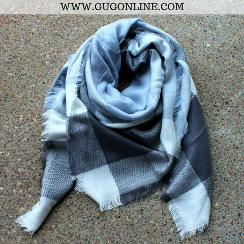 Grey, Light Blue and Ivory Plaid Blanket Scarf