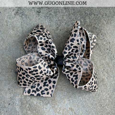Black Leopard Burlap Hair Bow