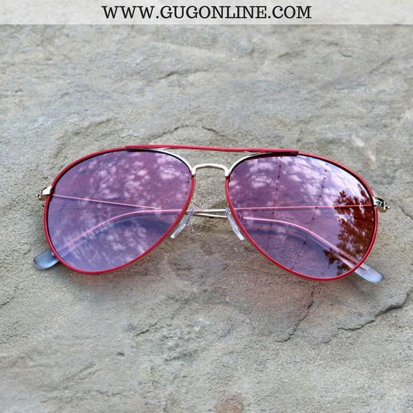 The Abby Aviator Sunglasses in Red