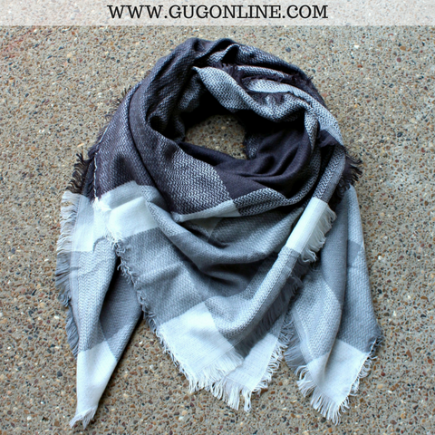 Charcoal Grey, Light Grey and Ivory Plaid Blanket Scarf