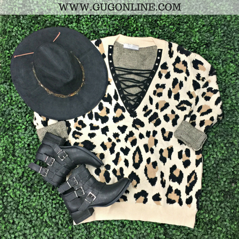 Close to Perfect Cheetah Print Lace Up Sweater in Taupe