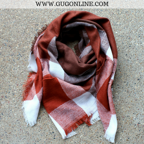 Brown, Rust and Ivory Plaid Blanket Scarf