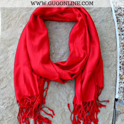 Solid Red Pashmina Scarf
