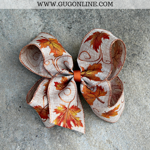 Fall Leaves Burlap Hair Bow