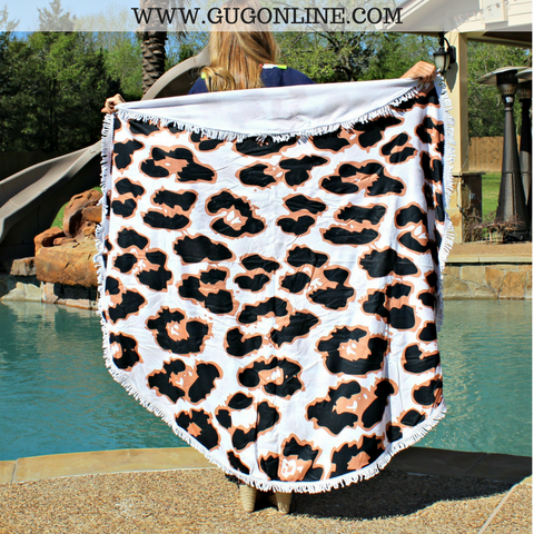 Splish Splash Round Beach Towel - Leopard