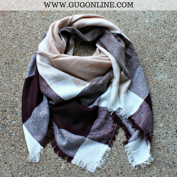 Burgundy, Tan and Ivory Plaid Blanket Scarf