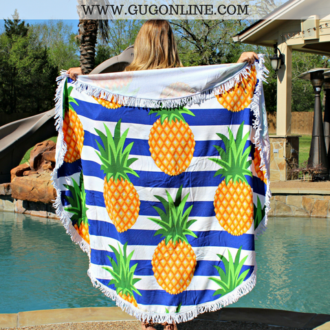 Splish Splash Round Beach Towel - Stripes and Pineapples
