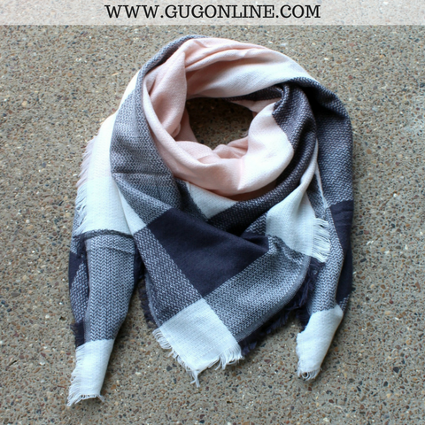 Charcoal Grey, Blush and Ivory Plaid Blanket Scarf