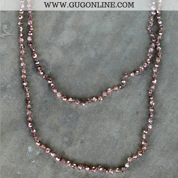 60 Inch Long Layering Crystal Strand Necklace in Rose Gold
