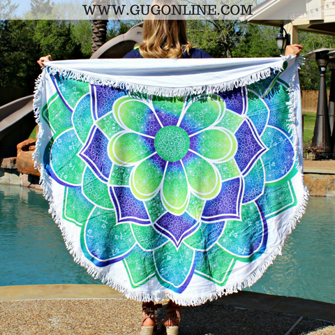 Splish Splash Round Beach Towel - Succulent