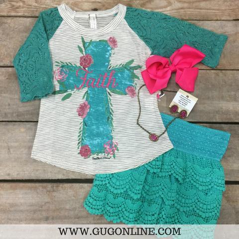 Childrens: Faith Floral Cross Baseball Tee with Turquoise Crochet Sleeves