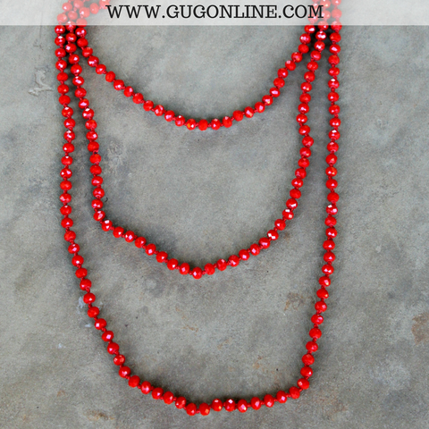 80 Inch Long Strand Crystal Necklace in Red