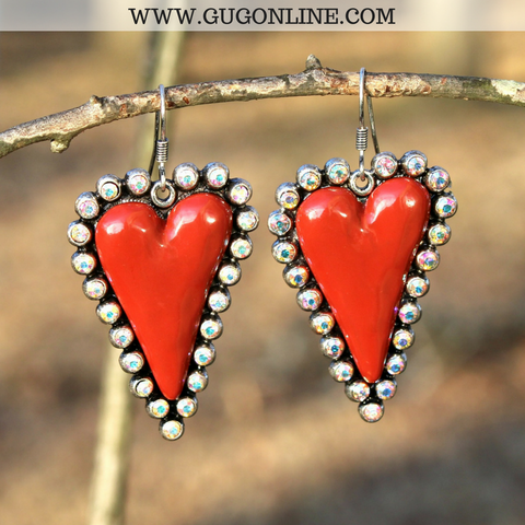 Heart Earrings with AB Crystals in Red