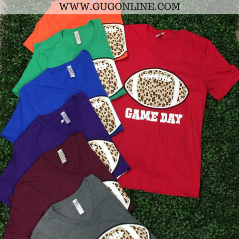Cheer Me On Leopard Print Football Gameday Tee
