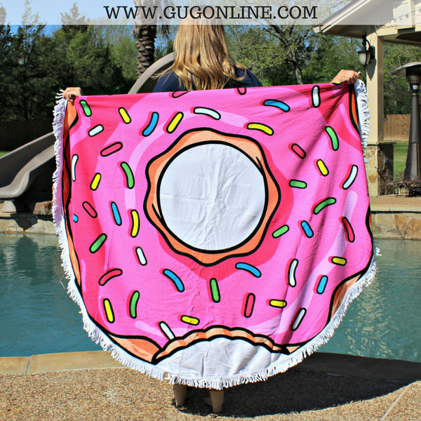 Splish Splash Round Beach Towel - Pink Sprinkled Donut