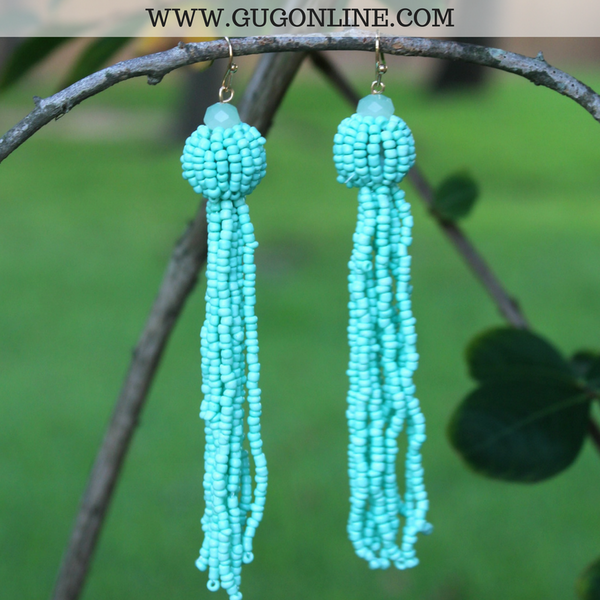 Fun Factor Beaded Tassel Earrings in Mint