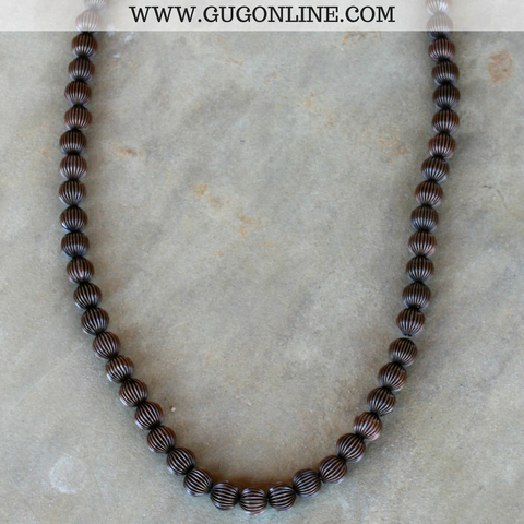 Long Copper Textured Bead Necklace Strand