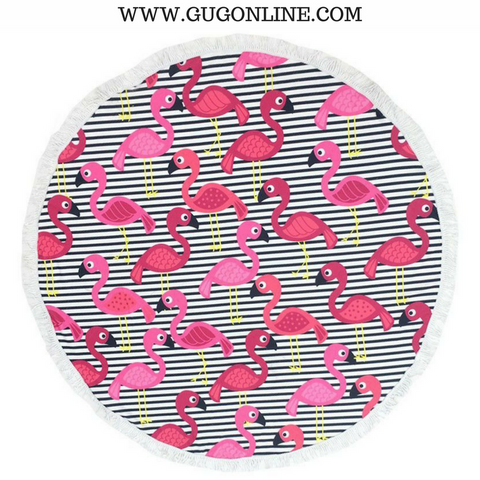 Splish Splash Round Beach Towel - Stripes and Flamingos