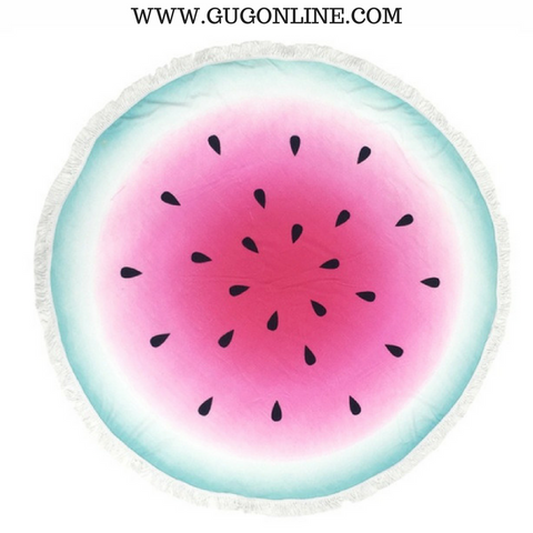 Splish Splash Round Beach Towel - Watermelon