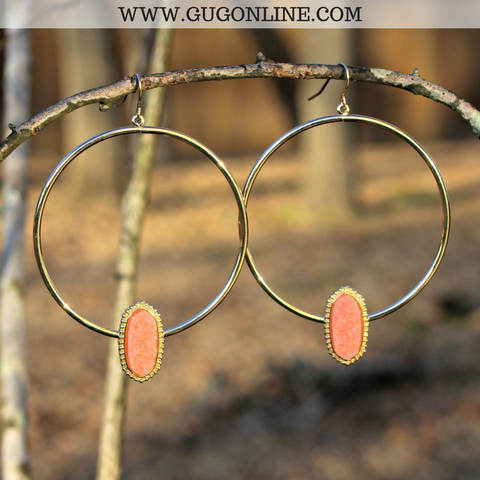 Gold Hoop Earrings with Druzy Stone in Coral