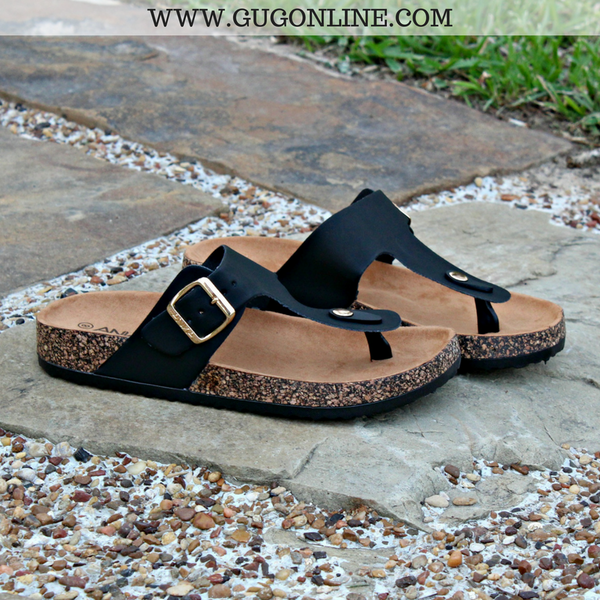 Summer Castaway Thong Sandal in Black - sizes 7, 8.5 and 9 left