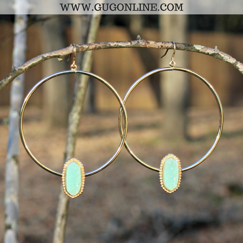 Gold Hoop Earrings with Druzy Stone in Mint