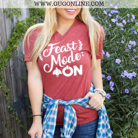 Feast Mode On Thanksgiving Short Sleeve Tee Shirt in Rust