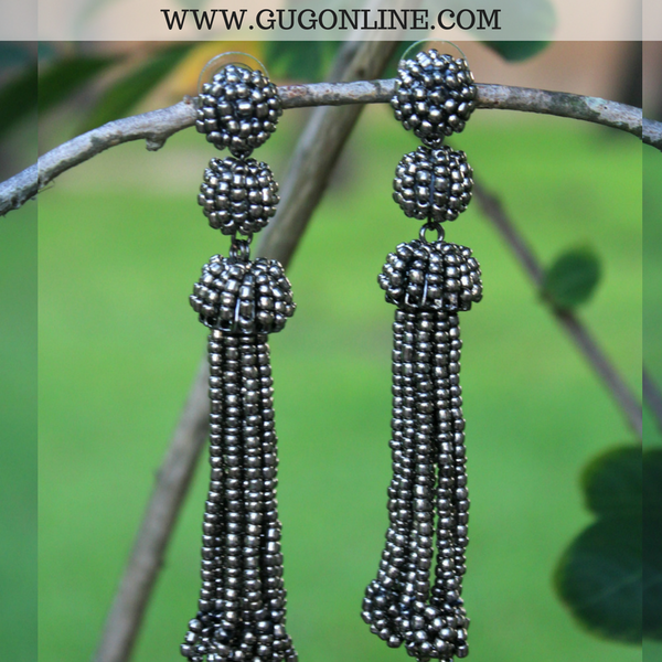 Tassel Earrings Retro Black Crystals