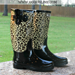Rain Is A Good Thing Rubber Boots in Cheetah