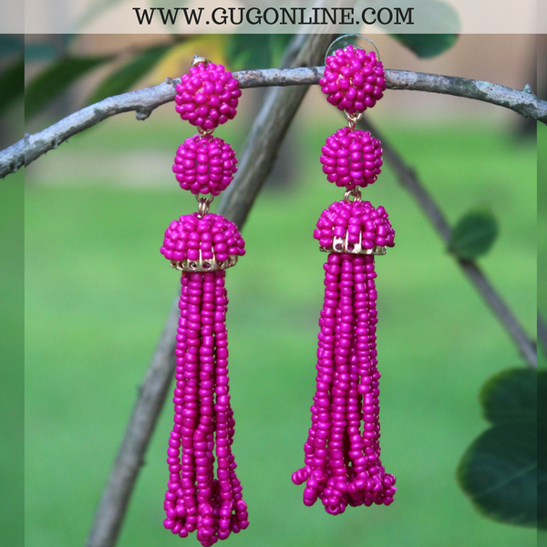 Totally Tassels Beaded Earrings in Hot Pink