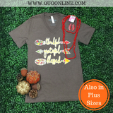 Thankful Grateful Blessed Short Sleeve Tee Shirt in Brown